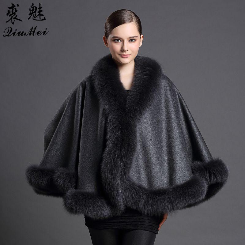 Genuine Cashmere Shawls Fox Fur Female Free Size Fashion Real Fur Ponchos Women's Capes Luxury Brand Winter Shawls and Scarves