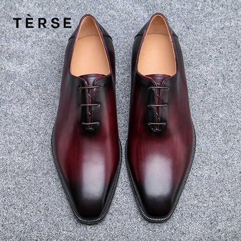TERSE NEW Dressing Shoes Luxury Men genuine Leather Shoes Fashion Flats oxfords Business Casual Shoes Lace-Up shoes 15770-2