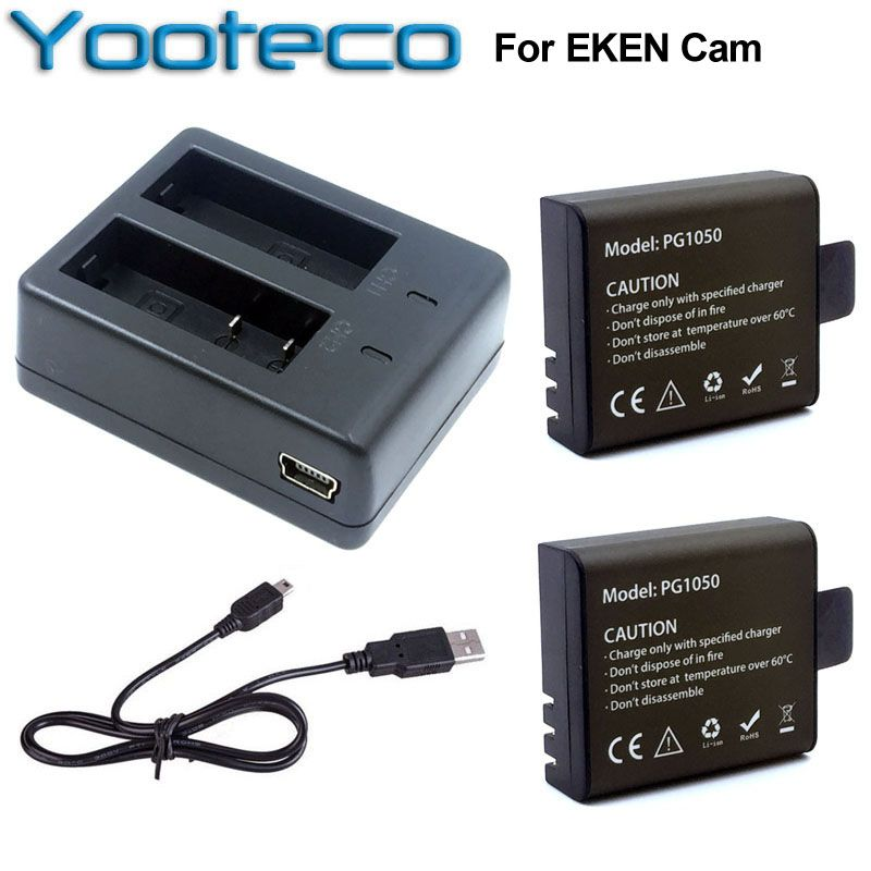 For EKEN Accessories Dual Charger + 2Pcs 1050mAh Backup Rechargable Li-ion Battery For H9 H9R H8PRO H8R H8 pro Action Camera