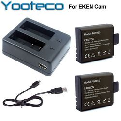 For EKEN Accessories Dual Charger + 2Pcs 1050mAh Backup Rechargeable Li-ion Battery For H9 H9R H8PRO H8R H8 pro Action Camera