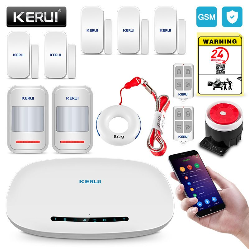 KERUI GSM Alarm System Security Auto Dial APP Wireless Home Burglar Alarm Fire Protection <font><b>Motion</b></font> Sensor Security Alarm DIY Kit