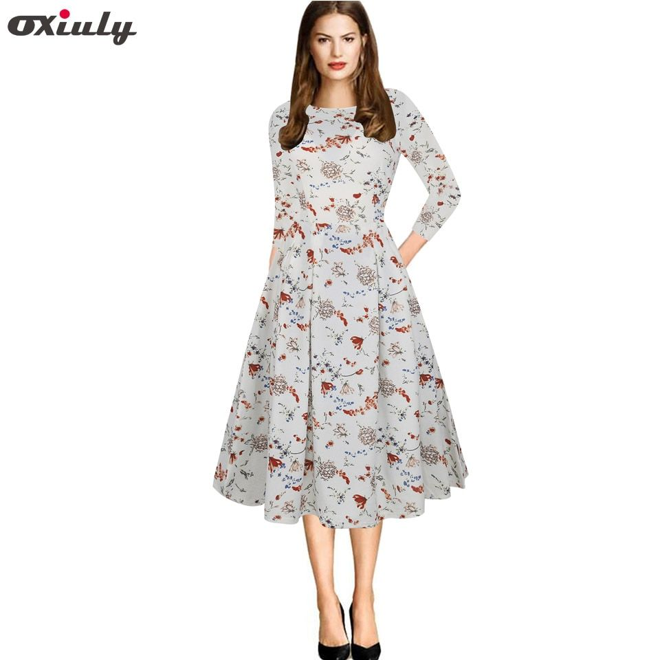 Oxiuly Womens Elegant Vintage Autumn Dress White PrintedTunic Pinup Wear To Work Office Casual Party A Line Skater Dress