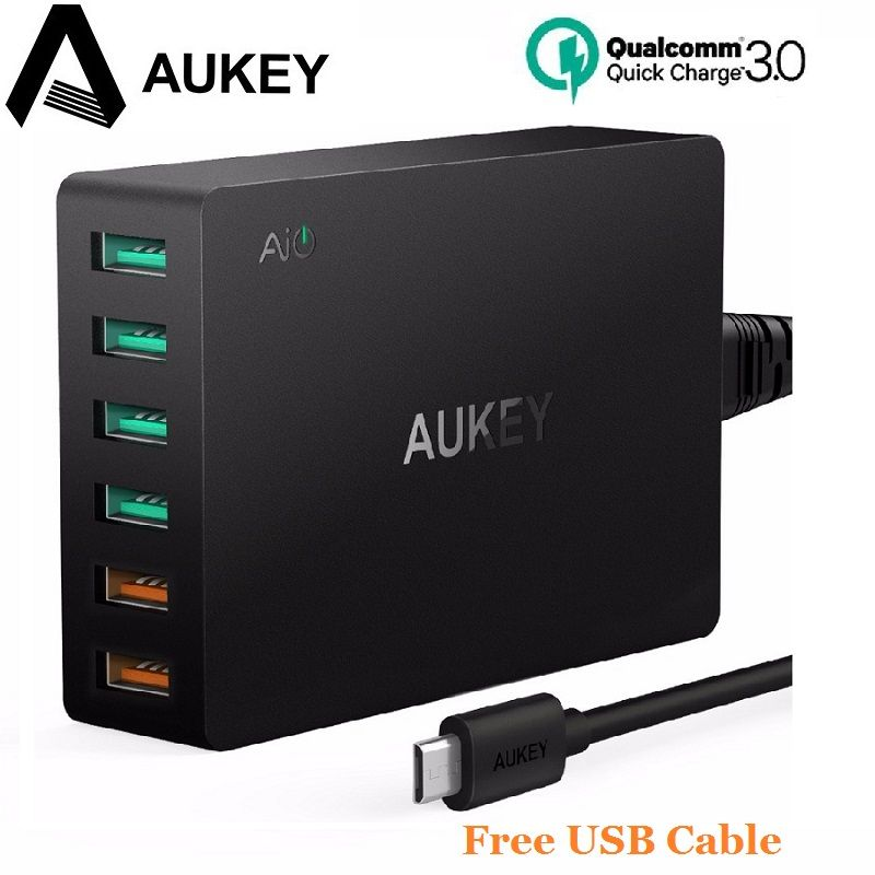 AUKEY Quick Charge 3.0 6 Ports Quick Charger Smart Phone Charger Desktop USB Charger for iPhone Samsung Galaxy s8 Xiaomi LG