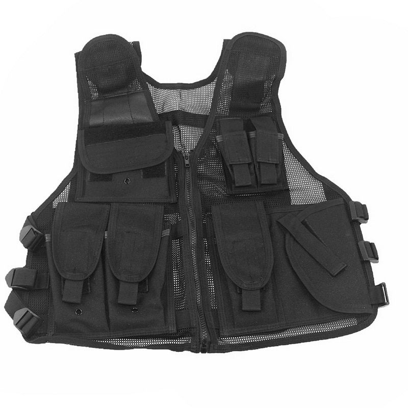 Tactical Vest Mens Hunting Vest Outdoor Black Training Military Army Swat Mesh Vests Protective <font><b>Equipment</b></font>