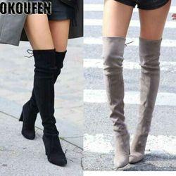 Su nuevo sobre la rodilla botas Mujer Zapatos invierno botas stretch mantener caliente tacones altos botas largas zapatos