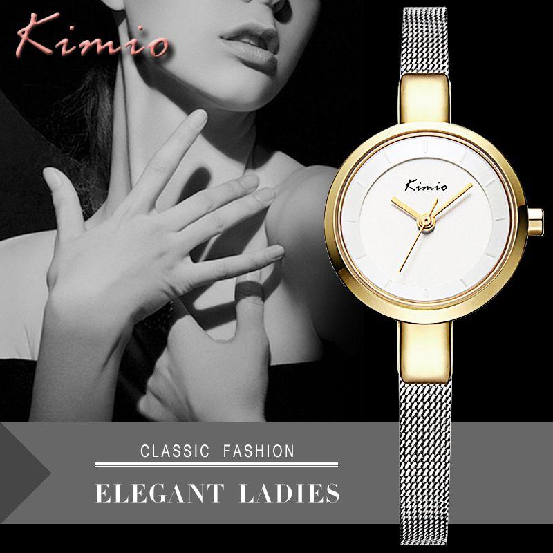 KIMIO Марка Роскошные Для женщин Часы Нержавеющаясталь браслет Часы дамы наручные часы Для женщин кварцевые часы золото Relogio feminino