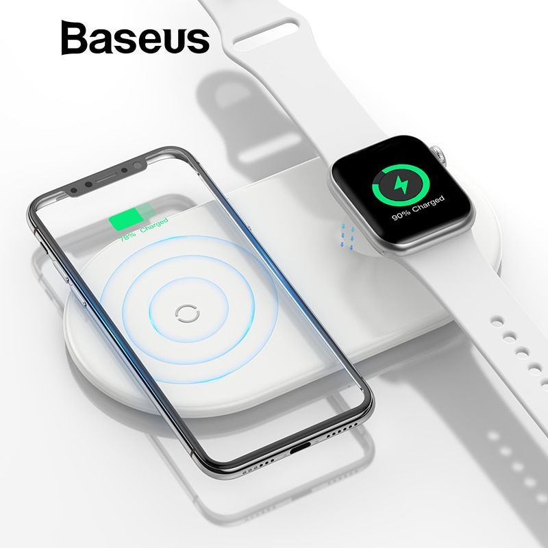Baseus 2 in 1 Wireless Charger For iPhone X XS Max XR Apple Watch 3 2 Wireless Charging Pad (Not Support For Apple Watch 4)