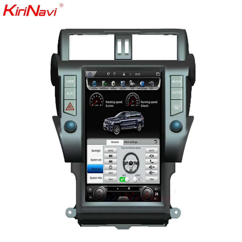 KiriNavi Vertical Screen Tesla Style Android 6.0 13.6 Inch Car Radio For Toyota Prado Gps Navigation DVD Player 4G 2010-2017