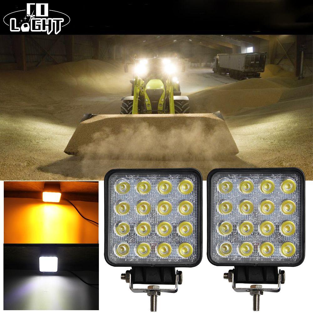 Fog Lamps for Cars 48W Additional Lights 4.3'' Inch 4X4 Led Car Light Work Light Double Color 6500K 3000K Amber White 9-32V DC