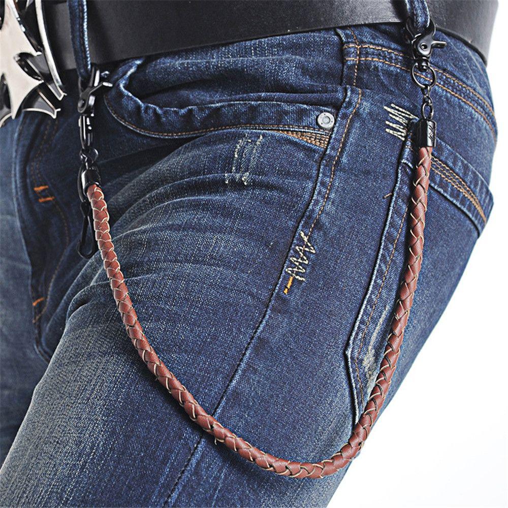 63 CM Neue Sommer Mode Brieftasche Jeans Chians Leder Geflecht Gürtel Kette Punk Männer Frauen Mode Einzelnen Schichten Hosen Kette 2018