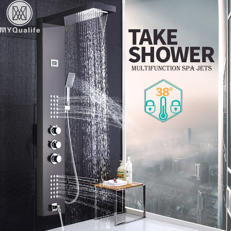 Brushed Nickel Thermostatic Shower Column Three Handles Temperature Display Shower Panel Faucet SPA Body Massage System