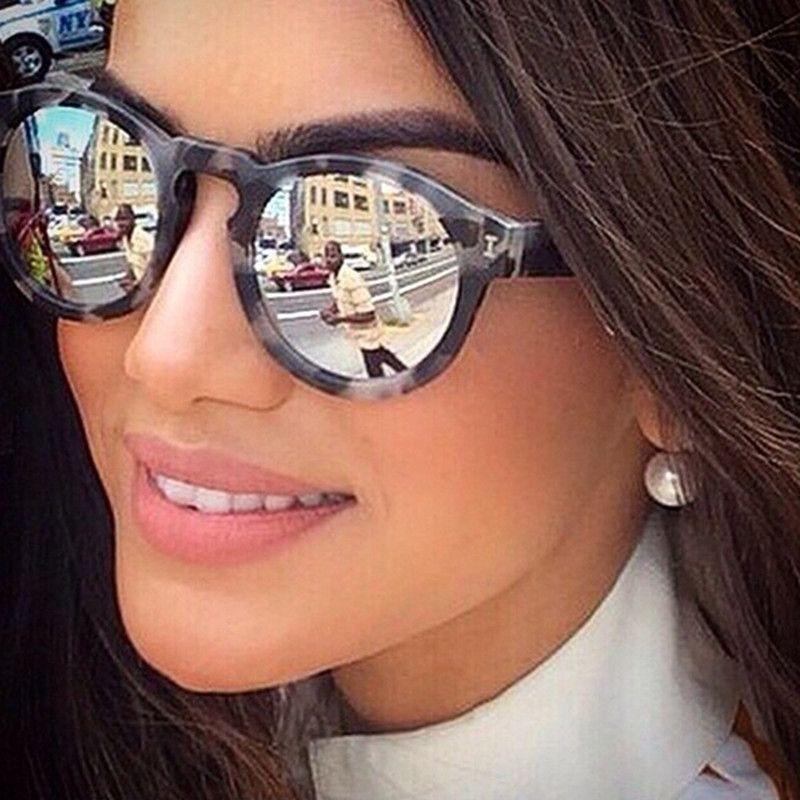 Free shipping Women Sunglasses Brand Designer 8 Mirror Coating Polarized Lense Italian eyewear brand Round Sun glasses Female