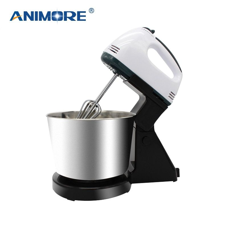 ANIMORE Electric Food Mixer Table Stand Cake Dough Mixer Handheld Egg Beater Blender Baking Whipping Cream Machine 7 Speed FM-03