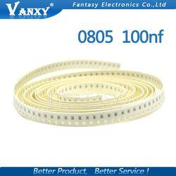 100 Pcs 100nF X7R Error 10% 50V 0805 0.1UF 104 SMD Film Tebal Chip Multilayer Keramik Kapasitor