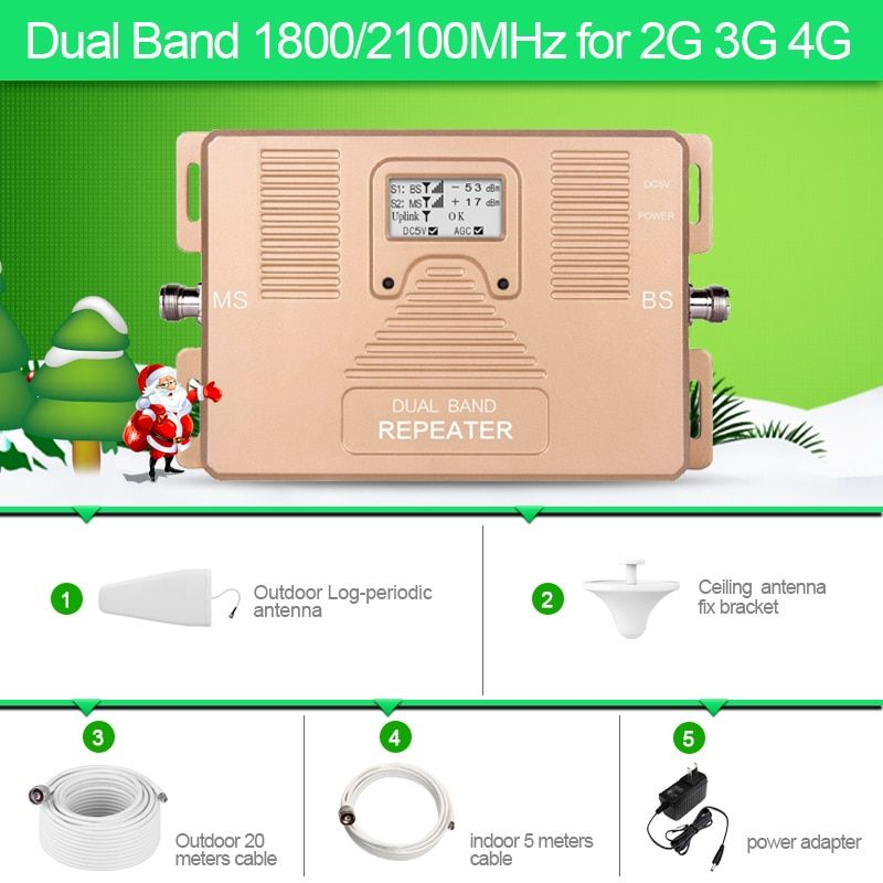 2G 3G 4G Dual Band 1800/2100MHz phone signal repeater with log-periodic and ceiling antenna large coverage amplifier antenna