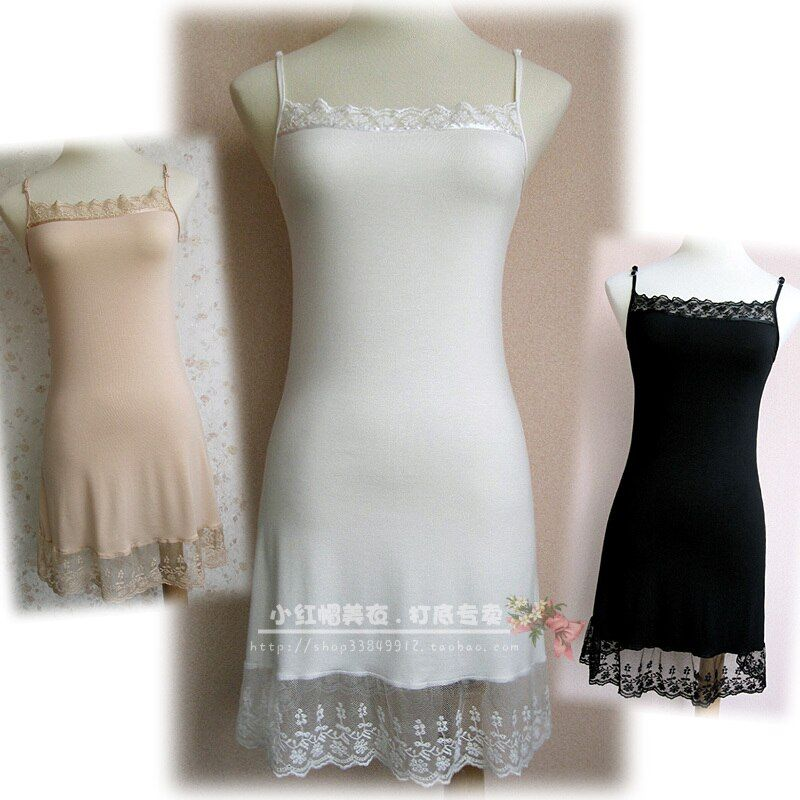 Lace decoration modal cotton spaghetti strap basic modal ultra elastic full slip black white slite neck petticoat