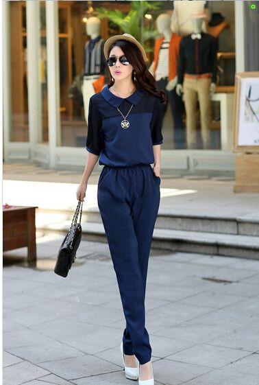 De gran Tamaño 3XL 4XL Verano Salopette Jumpsuits 2016 Pantalones de Una Sola Pieza de Solapa Elegante Negro Azul Pantalones Largos