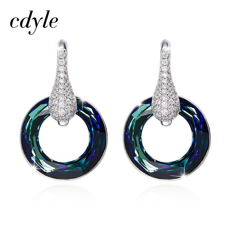 Cdyle Cristales De Swarovski Pendientes De Aro Pendiente de Las Mujeres S925 Joyería de Plata de Moda de Lujo Rhinestone Austríaco de Moda