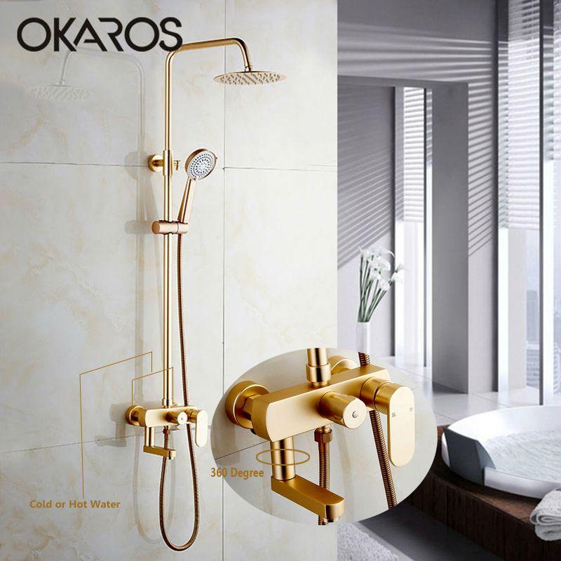 OKAROS Wand Befestigter Badezimmer Dusche Wasserhahn Set Aluminium Raum Wasserhahn Mit Handbrause Spray 8 Regendusche Kopf