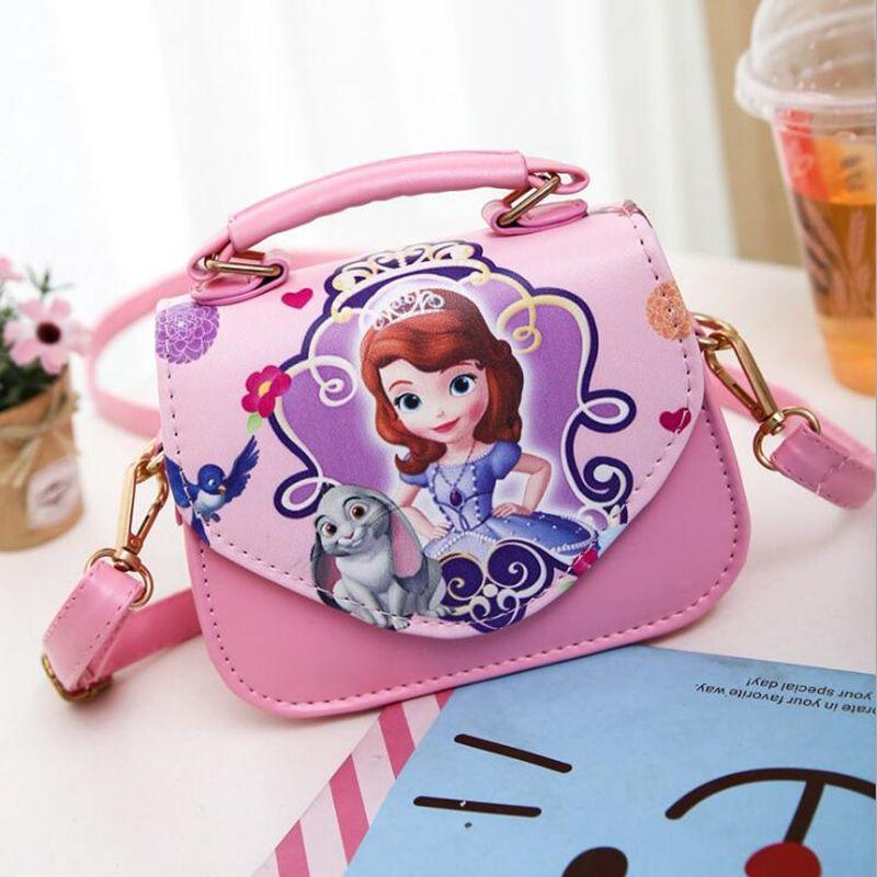 New Fashion Girls Bags Sofia Handbag Girls Accessories Kids Handbags Children PU Party princess Messenger bag For Girls