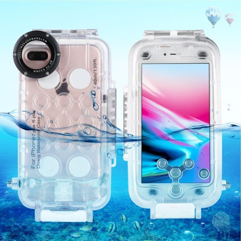 Für iPhone 7 Plus Fall 40 mt/130ft Unterwasser Kamera Gehäuse Foto Unter Wasserdicht Tauchen Fall Abdeckung für Apple iPhone 8 plus