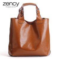 Zency 100% de cuero genuino marrón Retro bolso de las mujeres dama grande Tote bolsa portátil clásico café mujer hombro bolsas de compras bolso