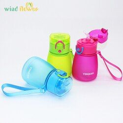 Wind flower 320ml Child Pipette Water Bottle With A Rope To Carry And Prevent Leakage Plastic Water Bottle