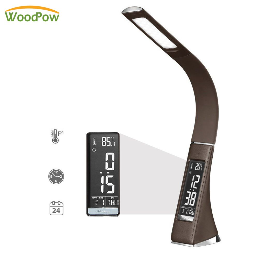 Creative LED Business Desk Lamp Dimming Touch Leather Texture Folding Reading Table Lamp With <font><b>Alarm</b></font> Clock/Calendar LCD Display