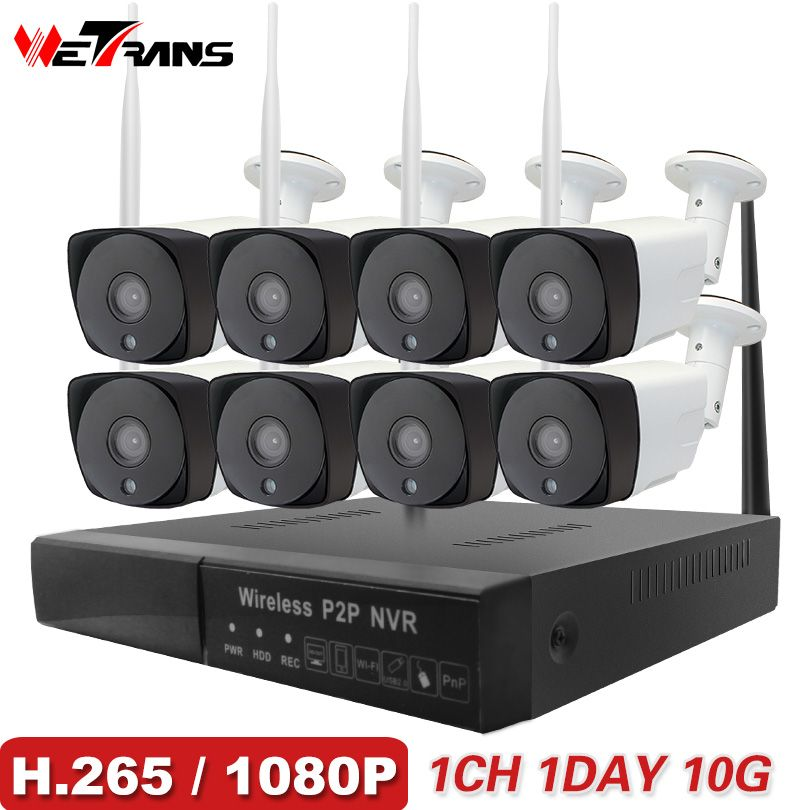 CCTV Camera System H.265 8CH Wireless 1080P HD 20m Night Vision P2P Waterproof Home Security Wifi Outdoor IP Camera System