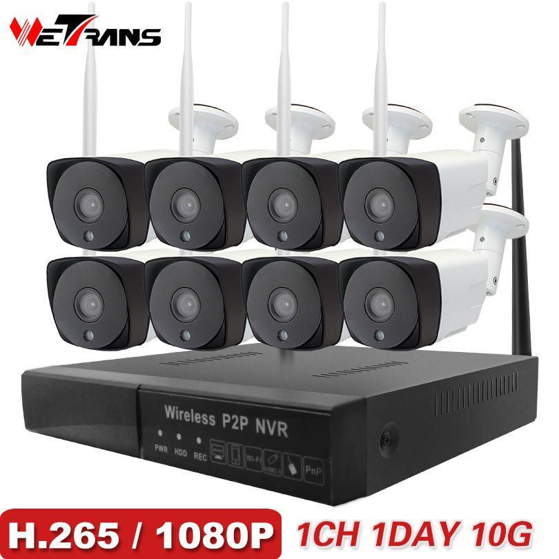 CCTV Kamera System H.265 8CH Drahtlose 1080 p HD 20 mt Nachtsicht Audio P2P Wasserdicht Home Security Wifi Im Freien IP Kamera System