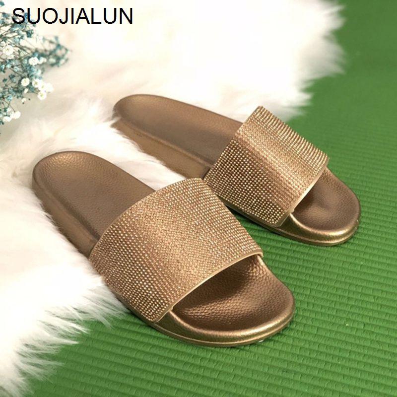 Big Size Crystal Diamond Slippers Summer Women Slippers <font><b>Bling</b></font> Beach Slides Flip Flops Ladies Sandals Casual Shoes Slip On Slides