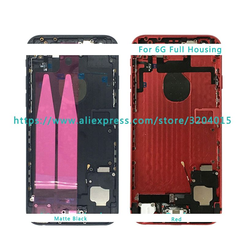 AAA High Quality Back Middle Frame Chassis For IPhone 6 6G 6S Full Housing Assembly Battery Cover Door Rear with Flex Cable