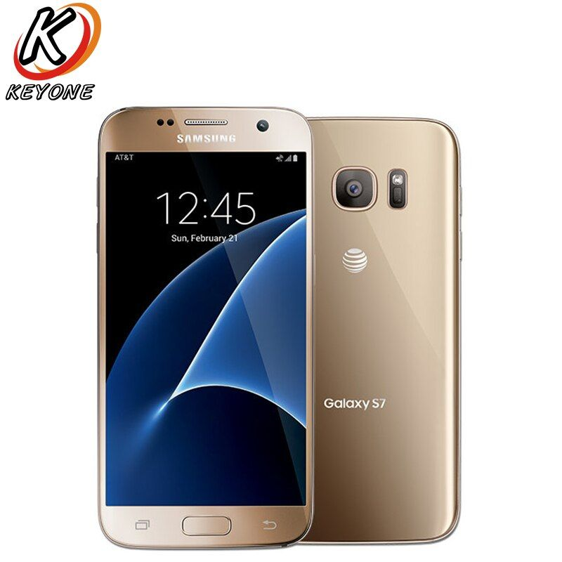 Original AT&T Version Samsung Galaxy S7 G930A 4G LTE Mobile Phone 5.1Inch 4GB RAM 32GB ROM Quad Core NFC 12MP Camera Cell Phone
