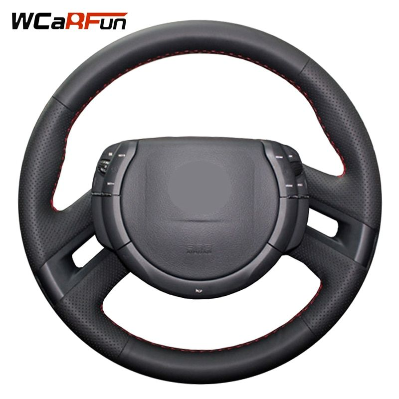 WCaRFun Hand-Stitched Black Artificial Leather Car Steering Wheel Cover for Citroen C4 Picasso 2012-2014 C-quatre steering cover