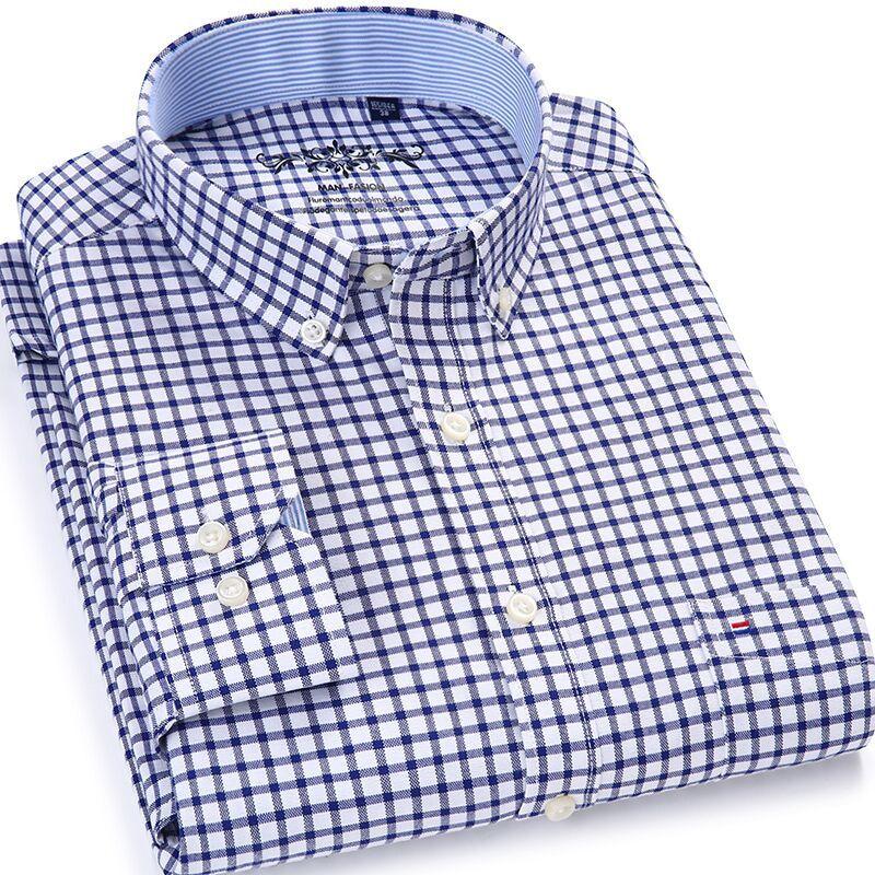 Hommes dessus de chemise hommes Plaid & rayé chemise Oxford décontracté hommes chemises à manches longues Slim Fit Camisa Social 5XL 6XL grande taille