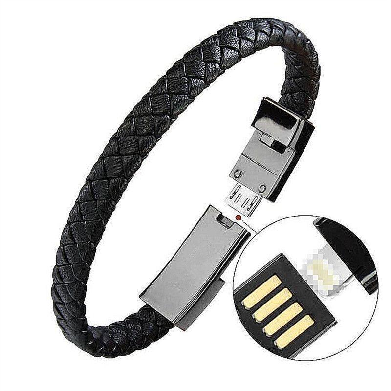 Extérieure Portable En Cuir Mini Micro USB Bracelet Chargeur Données Câble De Charge Sync Cordon Pour iPhone6 6 s Android Type- C Téléphone Câble