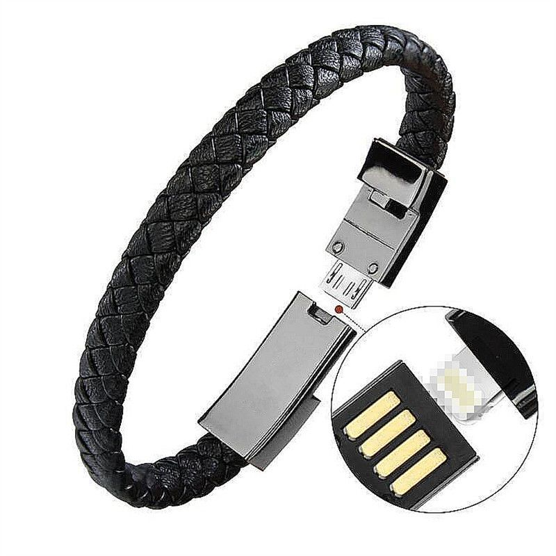 Outdoor Portable Leather Mini Micro USB Bracelet Charger Data Charging Cable Sync Cord For iPhone6 6s Android Type-C Phone Cable
