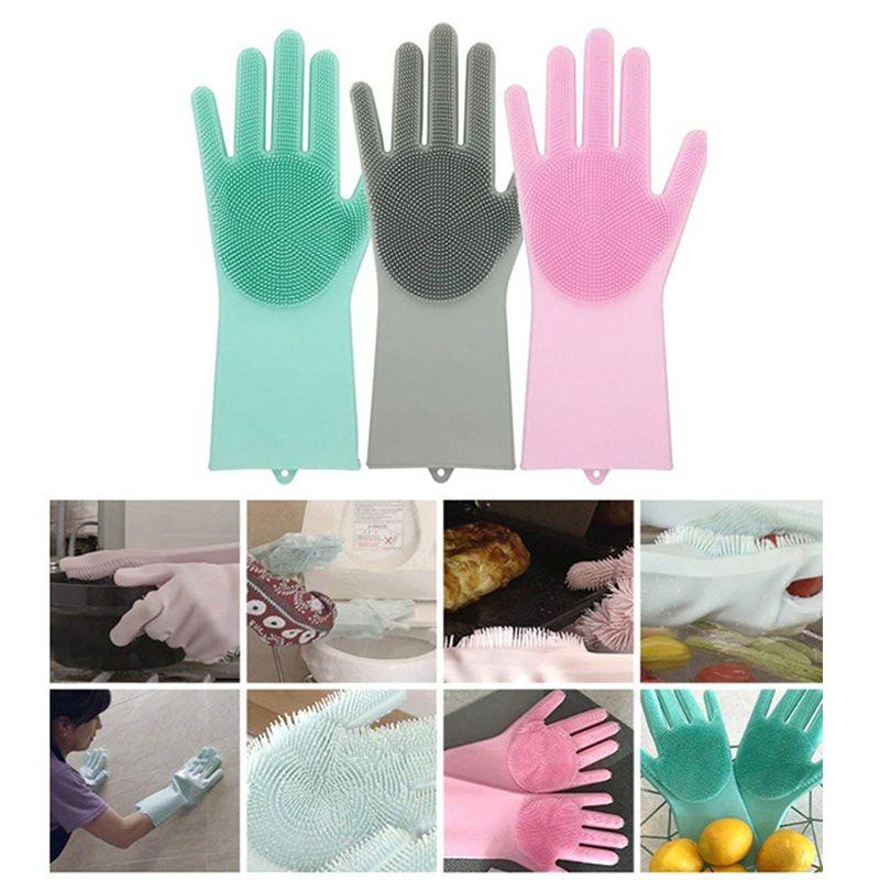 Silicone Dishwashing Gloves Bathroom Kitchen Cleaning Gloves Housework Magic Gloves Cleaning For House Insulation Tools