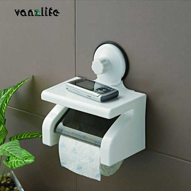vanzlife waterproof <font><b>toilet</b></font> roll paper holder powerful wall suction with tray no hurting <font><b>toilet</b></font> paper rack