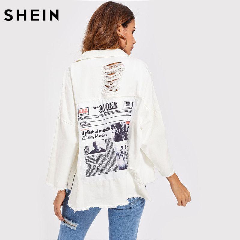SHEIN Drop Shoulder Patch Back Distressed Jacket Autumn Jeans Jacket Women Lapel Long Sleeve Single Breasted Jacket