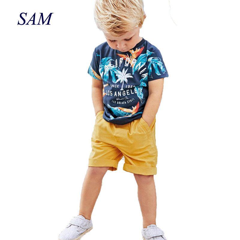 2019 bébé garçons ensembles été garçons ensembles vêtements T shirt + pantalon court coton sport lettre imprimé ensemble enfants costume