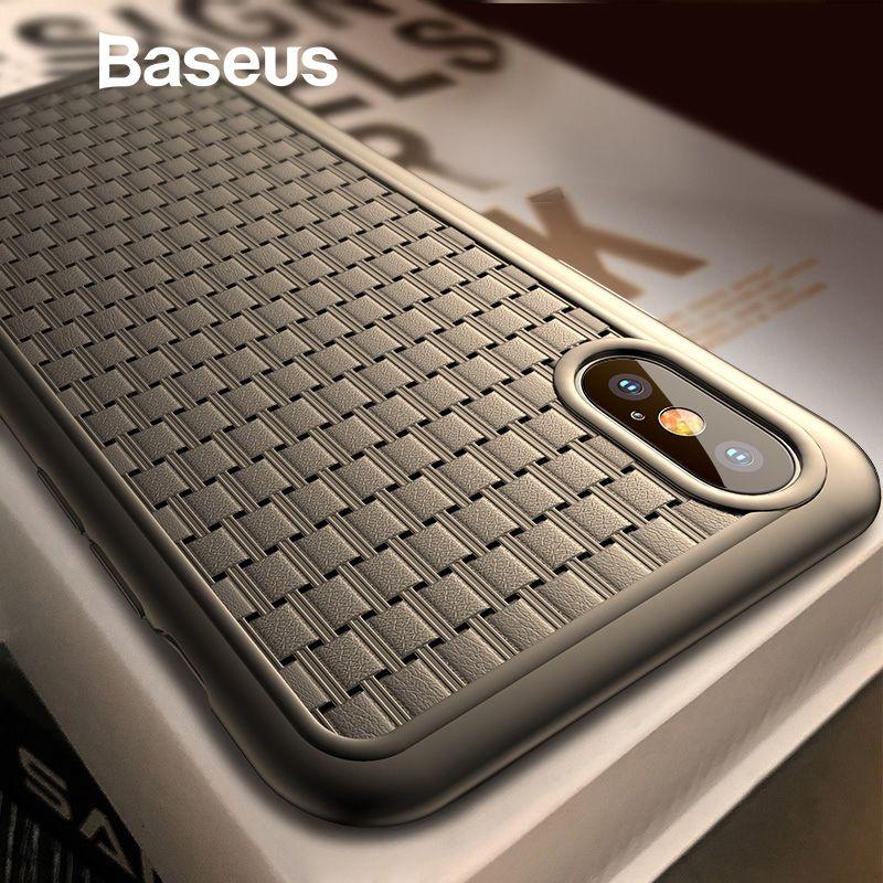 Baseus Luxus Weben Fall Für iPhone Xs Xs Max XR 2018 Elegante Grid Muster Weichen Silikon Telefon Fall Für iPhone xs XR Abdeckung