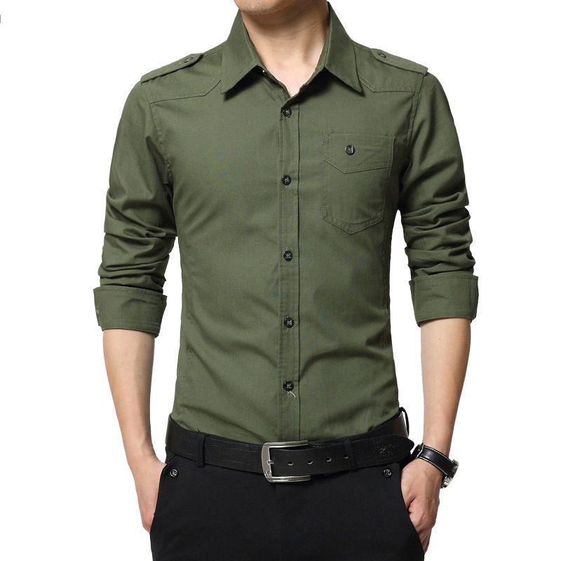 2018 epaulette homme chemise mode manches longues epaulet chemise Style militaire 100% coton armée vert chemises avec epaulets