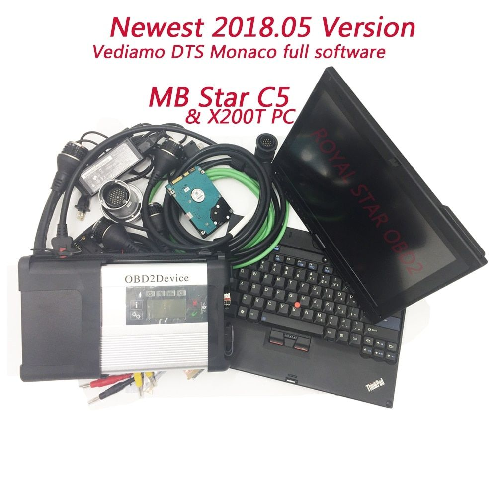 MB Star C5 sd connector with X200T PC HDD/SSD install newest software ready to use multi language wifi MB C5 car diagnostic tool