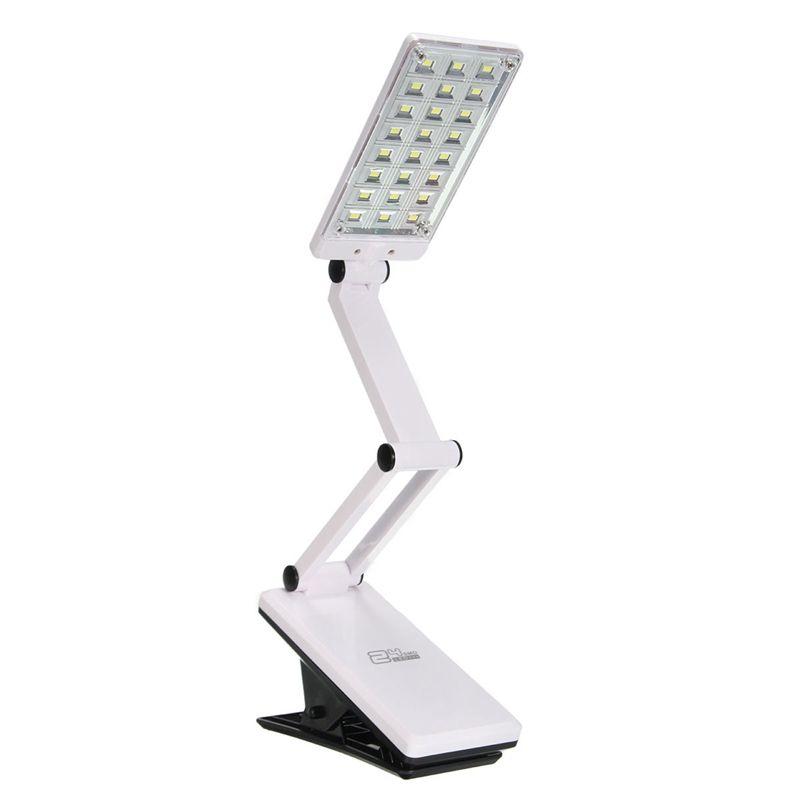 Blanco Plegable Flexible 24 LED Recargable Lámpara de Mesa Ajustable Abrazadera Clip En El Libro de Estudio de Lectura de Cabecera del Escritorio Luz de La Batería