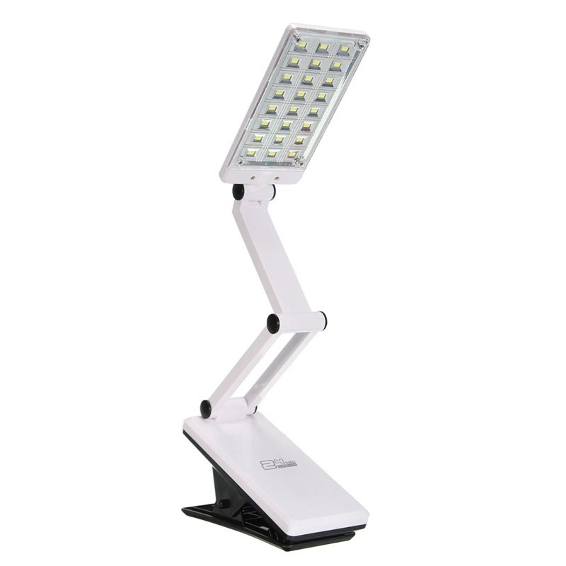White Flexible Foldable 24 LED Table Lamp Adjustable Rechargeable Clamp Clip On Study Book Reading Bedside Desk Light Battery