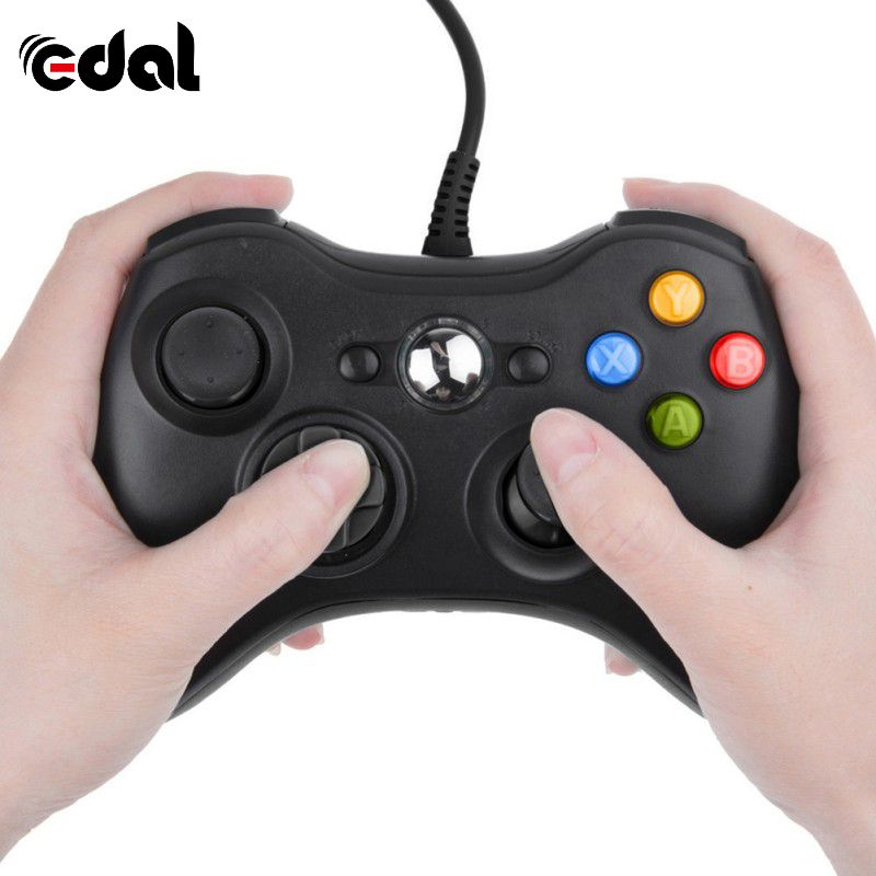 EDAL Black Wired Joypad Portable Gamepad Controller for Xbox 360 Joystick and Microsoft PC for Windows