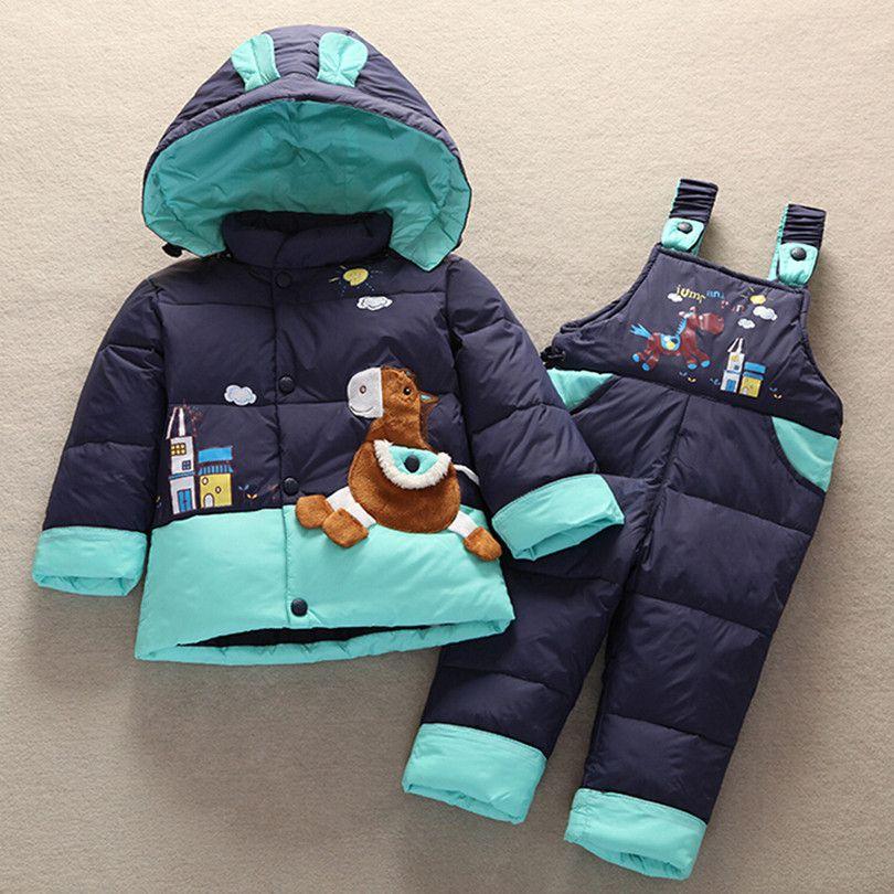 2018 Winter Children Baby <font><b>Kids</b></font> Duck Down Jacket Set Pants-Jacket Autumns Boy Clothing Parka Hoodies Outerwear Girls Coat Jacket