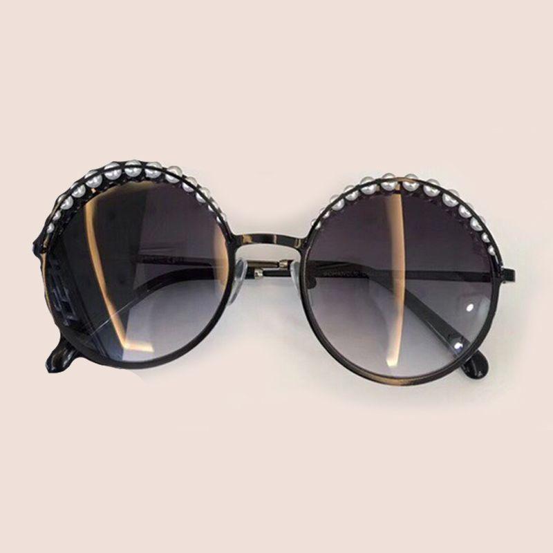 Round Sunglasses Women with Pearl 2018 New Fashion Lady's Eyewear High Quality Oculos De Sol Female Sun Glasses