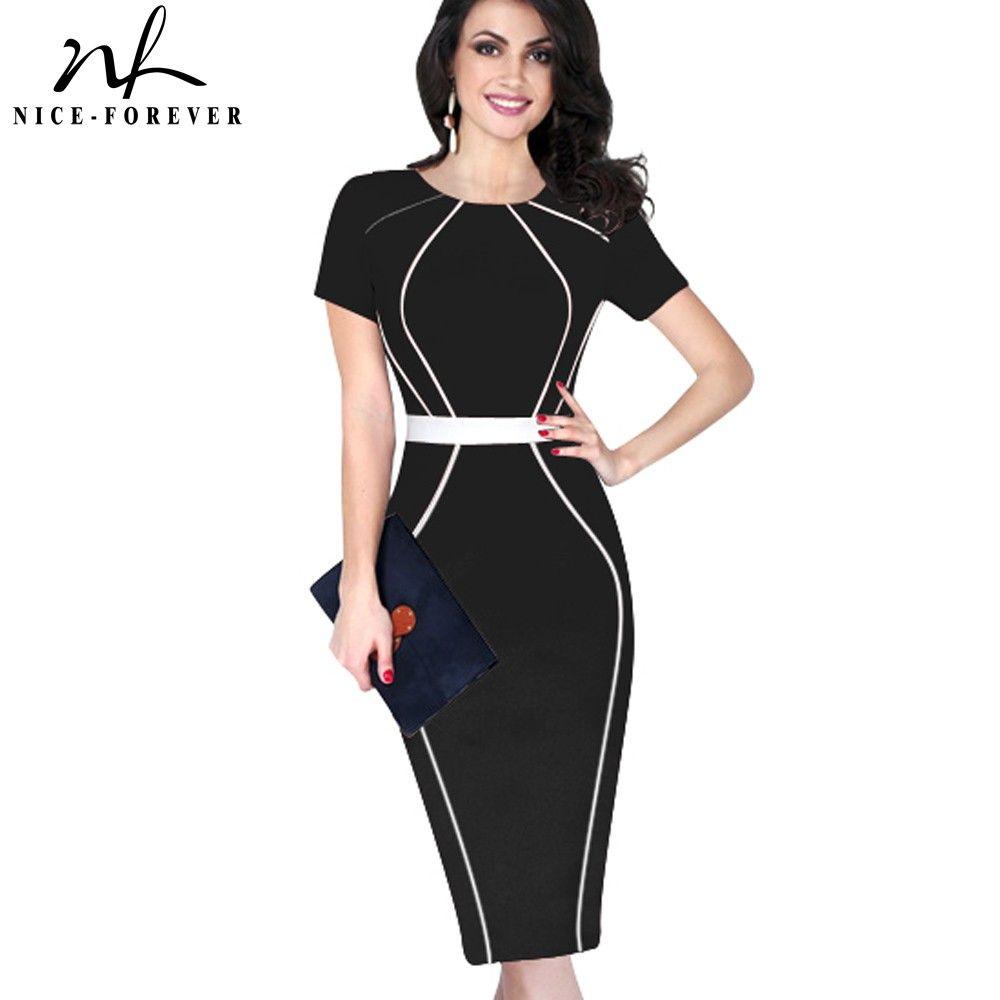 Nice-forever femmes élégant Colorblock contraste Patchwork manches courtes 2017 Slim tunique porter au travail bureau affaires robe B389